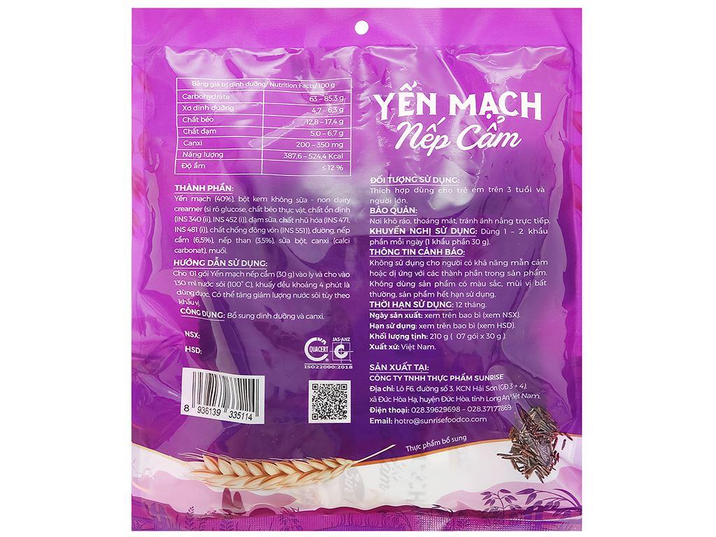 Thực phẩm bổ sung yến mạch nếp cẩm Yumfood gói 210g 2