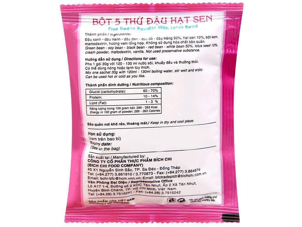 Bột 5 thứ đậu hạt sen không đường Bích Chi bịch 300g 12