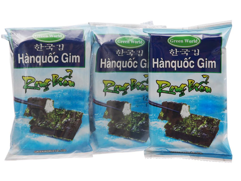 Lốc 8 gói rong biển ăn liền vị truyền thống Green World 2g 2