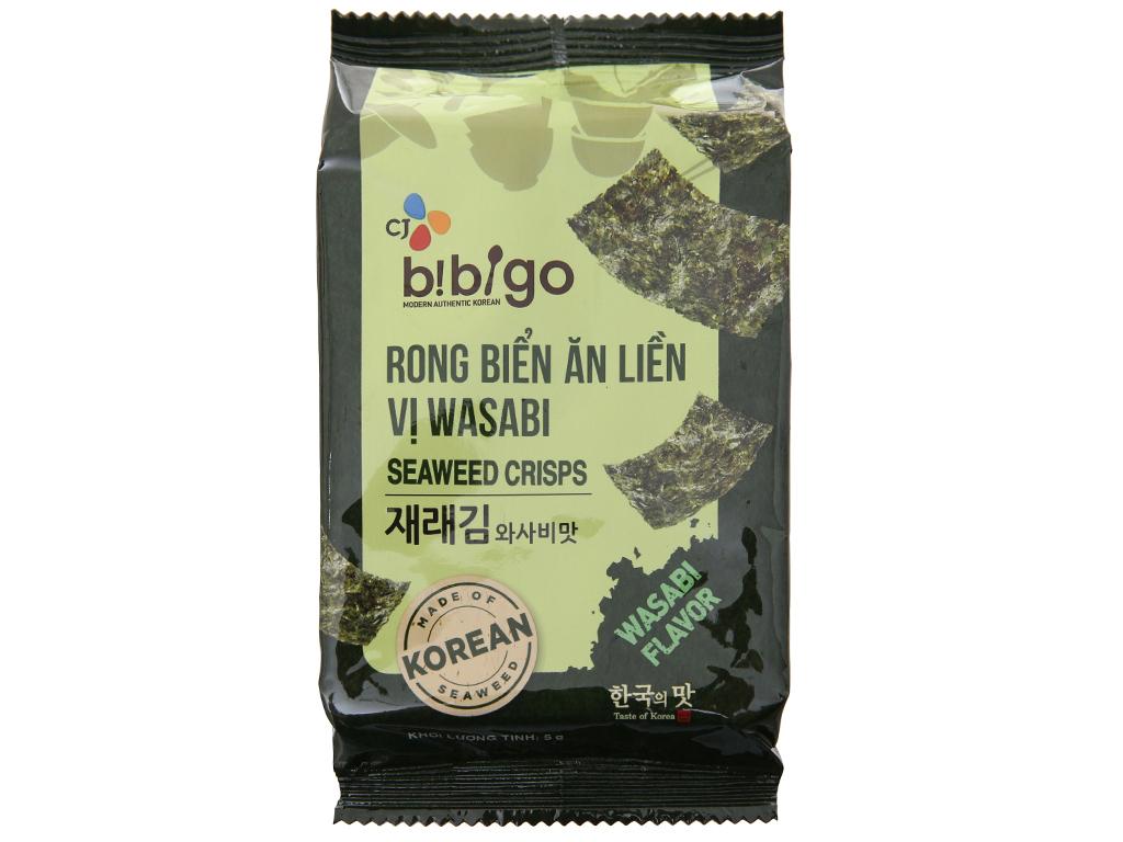 Lốc 3 gói rong biển ăn liền vị wasabi Bibigo 5g 2
