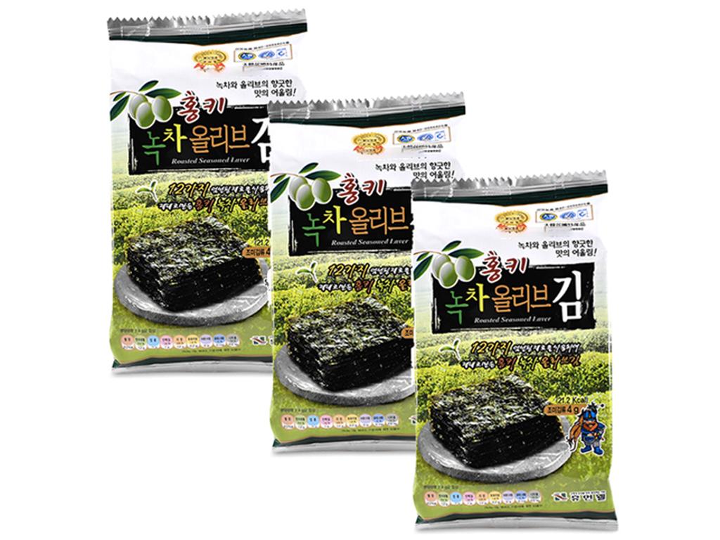 Lốc 3 gói rong biển ăn liền Humanwell vị oliu trà xanh 4g 1