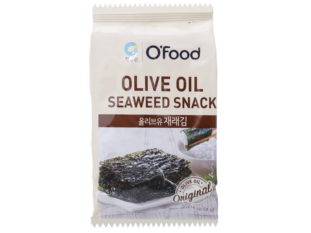 Lốc 2 gói rong biển ăn liền tẩm dầu oliu O'food 4g 1