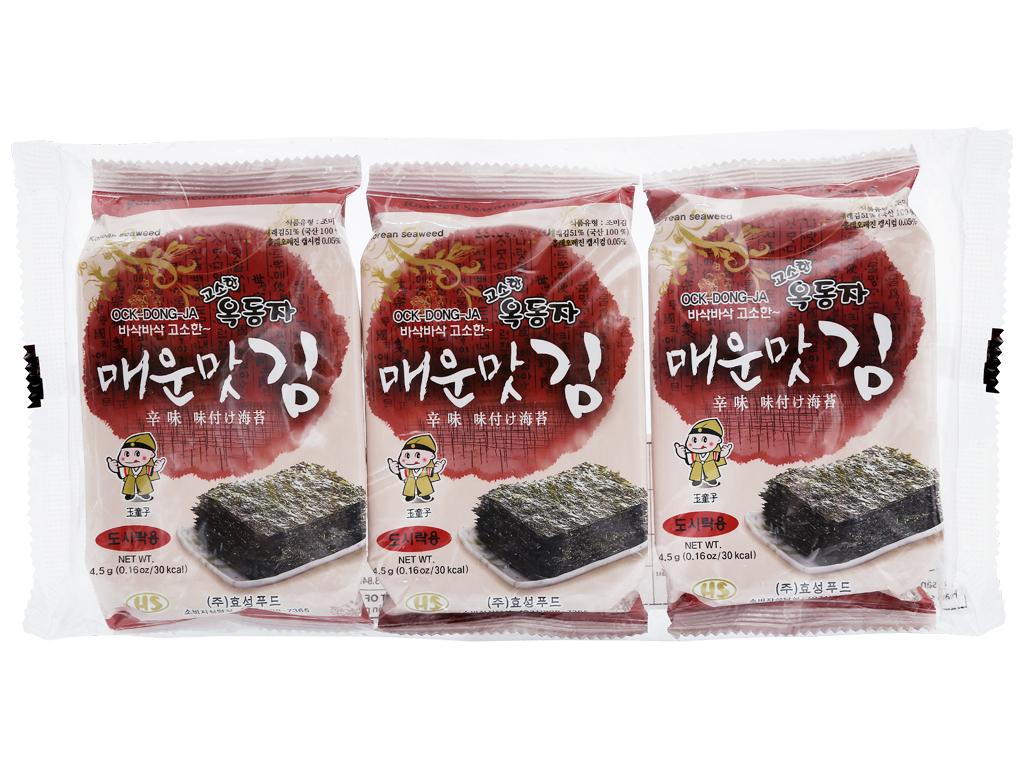 Lốc 3 gói rong biển ăn liền Ock Dong Ja vị cay nồng 4.5g 2