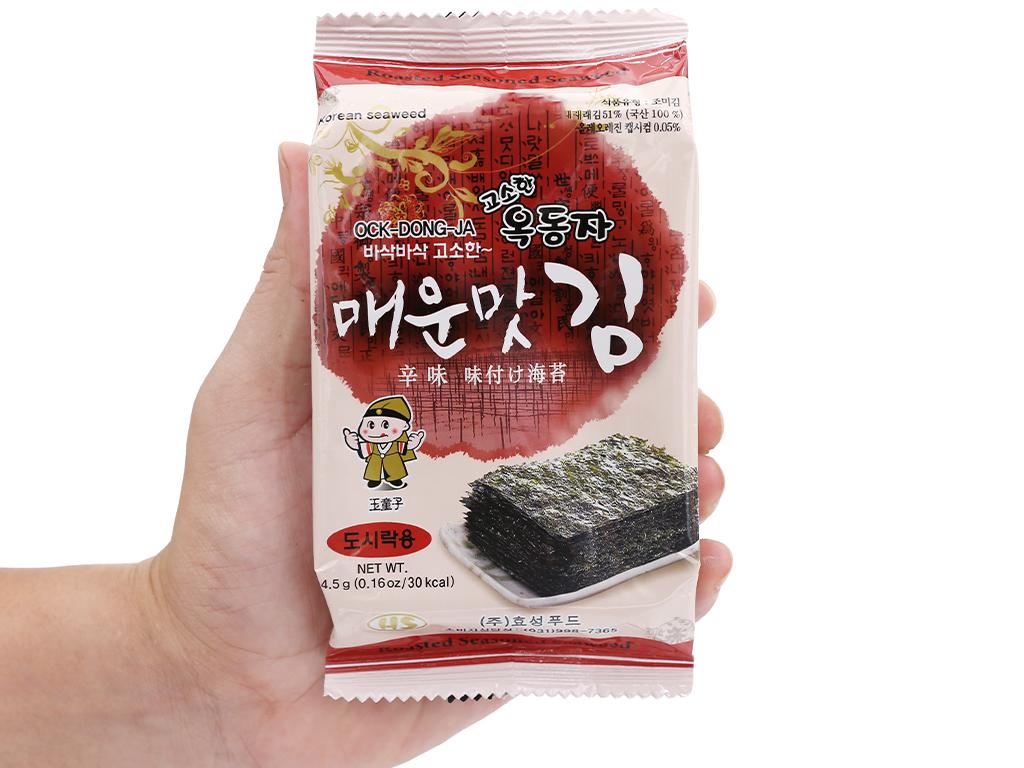 Lốc 3 gói rong biển ăn liền Ock Dong Ja vị cay nồng 4.5g 8