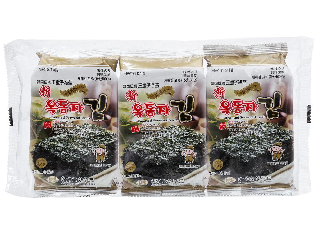 Lốc 3 gói rong biển ăn liền vị truyền thống Ock Dong Ja 4.5g 2