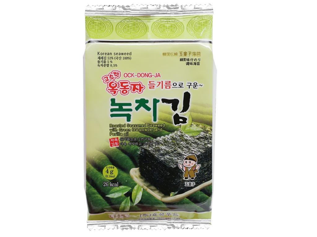 Lốc 3 gói rong biển ăn liền vị trà xanh Ock Dong Ja 4.5g 2