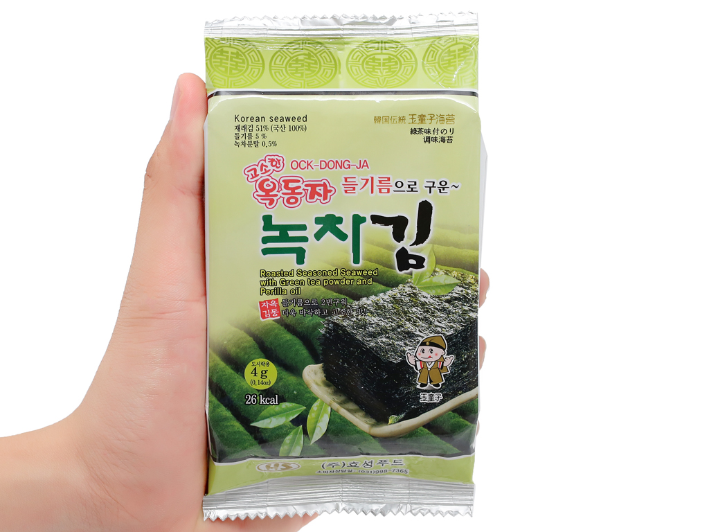 Lốc 3 gói rong biển ăn liền vị trà xanh Ock Dong Ja 4.5g 7
