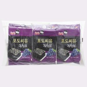 Lốc 3 gói rong biển ăn liền Gwangcheon vị nho Captain Lee 4g