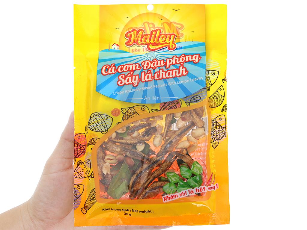 Cá cơm đậu phộng sấy lá chanh Mailey gói 30g 3