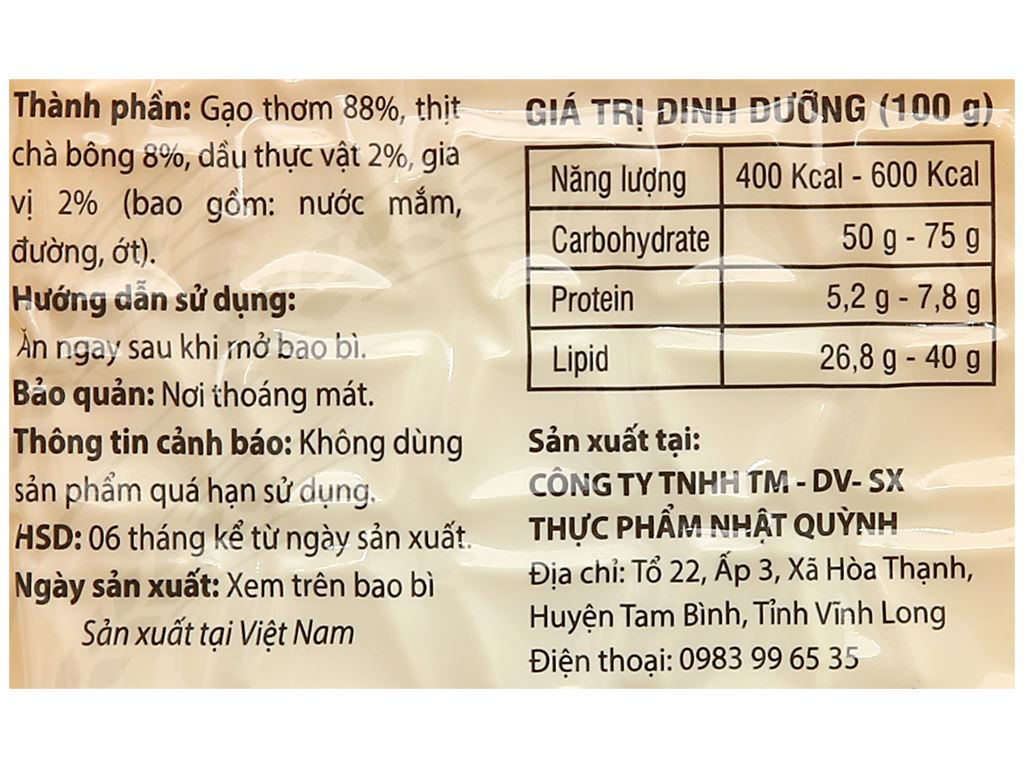 Cơm sấy chà bông Nhật Quỳnh gói 80g 3