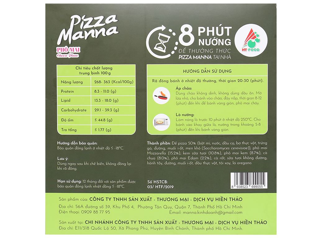 Pizza Manna phô mai HT Food 120g 3