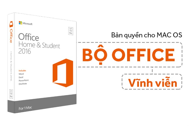 Office Home & Student 2016 for Mac vĩnh viễn 1 máy All languages
