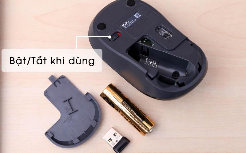 Chuột không dây Logitech Silent M220 Đen công tắt
