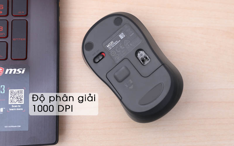 Chuột không dây Logitech Silent M220 Đen Phân giải 1000dpi