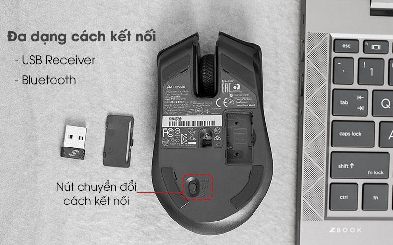 Chuột Bluetooth Gaming Corsair Harpoon RGB Đen - Kết nối