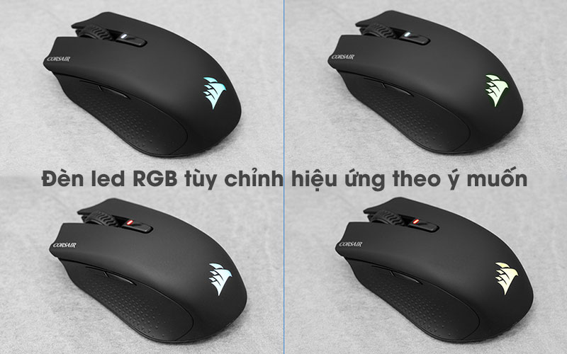 Chuột Bluetooth Gaming Corsair Harpoon RGB Đen - Đèn led RGB