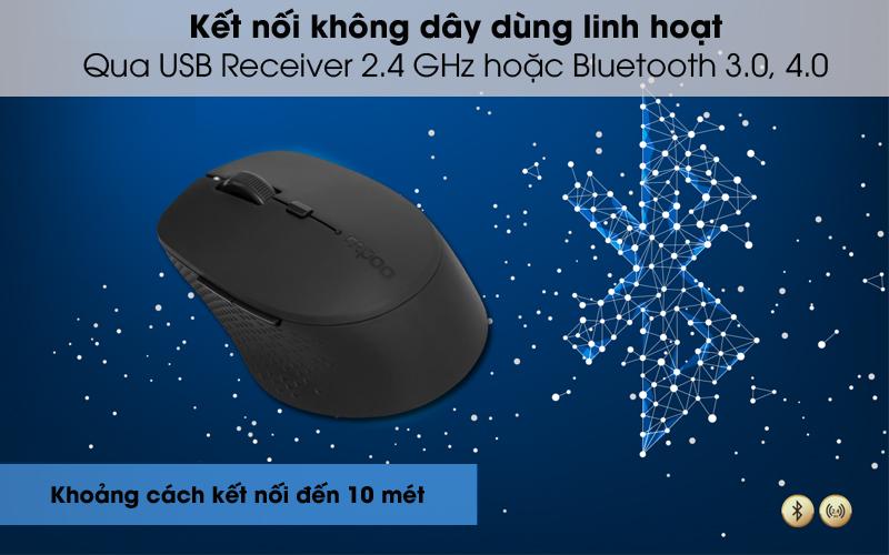 Kết nối không dây linh hoạt - Chuột không dây Silent Rapoo M300