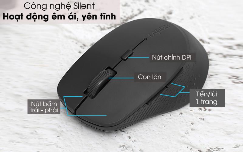 Hoạt động êm ái - Chuột không dây Silent Rapoo M300