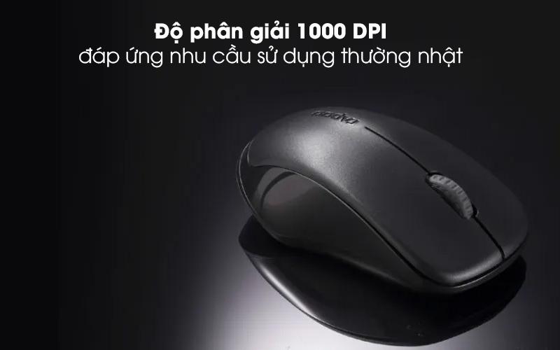 Chuột Không Dây Rapoo 1620 Đen - Thực hiện những cú rê chuột chính xác với độ nhạy 1000 DPI