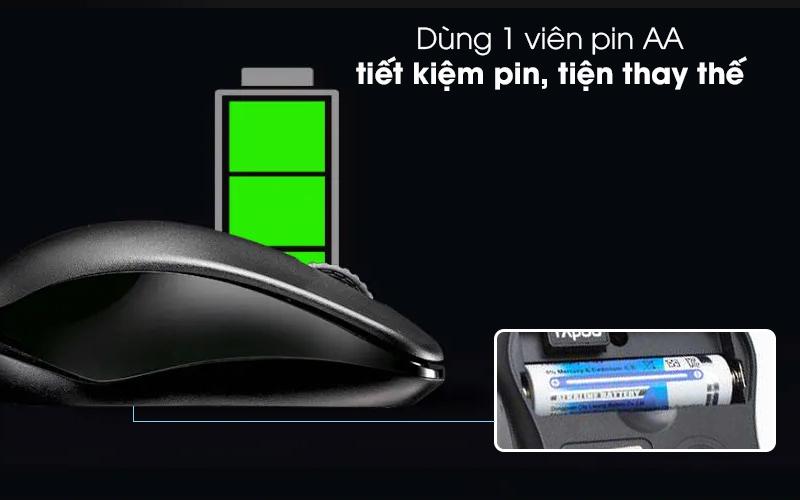 Chuột Không Dây Rapoo 1620 Đen - Sử dụng tiết kiệm pin