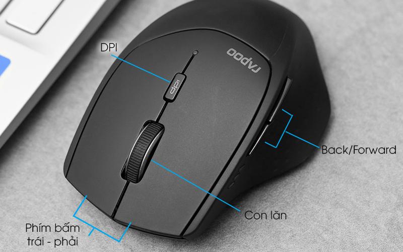 Chuột Không dây Bluetooth Rapoo MT550 Đen - Các nút điều khiển cho phản hồi nhanh