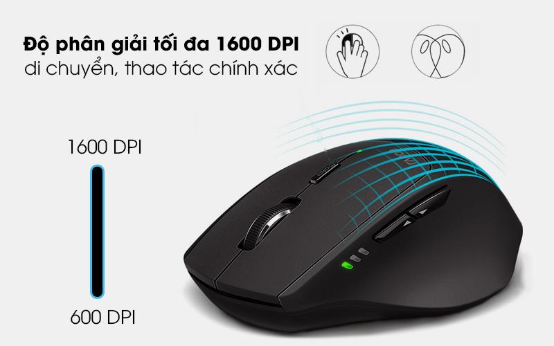 Chuột Không dây Bluetooth Rapoo MT550 Đen - Cảm biến quang học đạt độ chính xác cao với mức DPI tối đa 1600