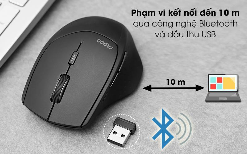Chuột Không dây Bluetooth Rapoo MT550 Đen - Khoảng cách dùng xa tới 10 m nhờ có công nghệ kết nối không dây Bluetooth và đầu thu USB