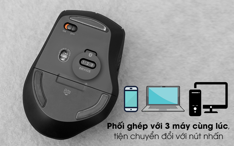 Chuột Không dây Bluetooth Rapoo MT550 Đen - Phối ghép đồng thời 3 thiết bị khác nhau