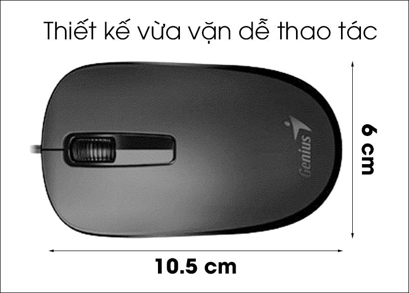 Chuột có dây Genius DX-125 - Kiểu dáng đơn giản, thoải mái khi sử dụng