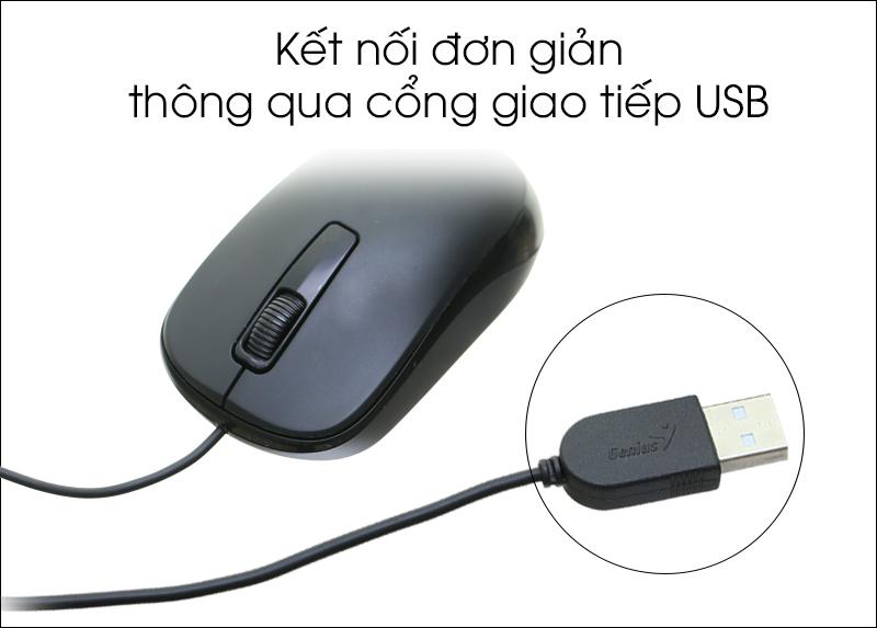 Chuột có dây Genius DX-125 - Kết nối laptop qua đầu cáp USB