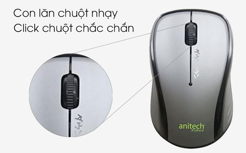 Chuột không dây Anitech MW315 - Các phím bấm đàn hồi tốt, con lăn chuột nhạy