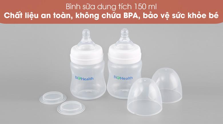 Bình sữa 150 ml - Máy hút sữa điện đôi BioHealth IE Basic