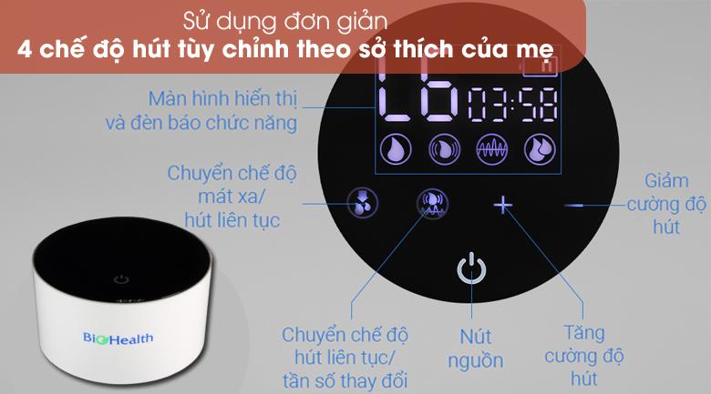 Nhiều chế độ hút, dễ dùng - Máy hút sữa điện đôi BioHealth IE Basic