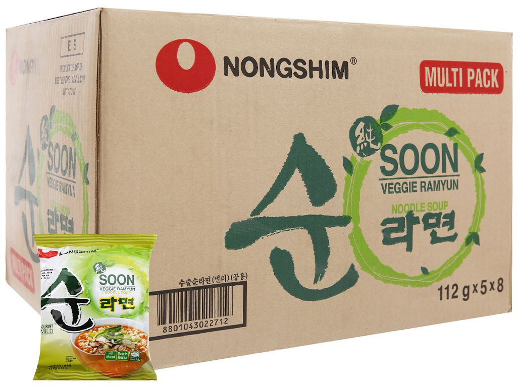 Thùng 40 gói mì chay Nongshim Soon Veggie Ramyun 112g 2