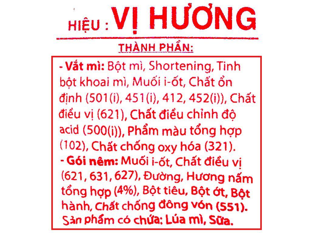 Thùng 30 gói mì chay Vị Hương 65g 3