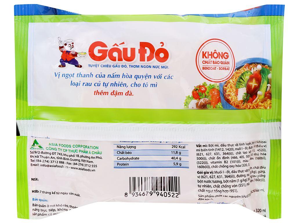Thùng 30 gói mì Gấu Đỏ chay rau nấm 62g 11