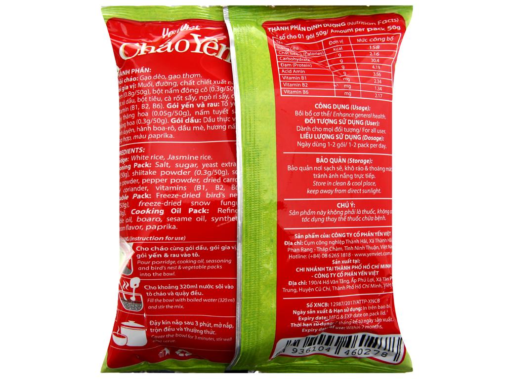 Thùng 30 gói Cháo yến chay rau nấm Yến Việt 50g 5