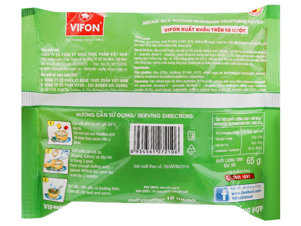 Phở chay rau nấm Vifon gói 65g 6