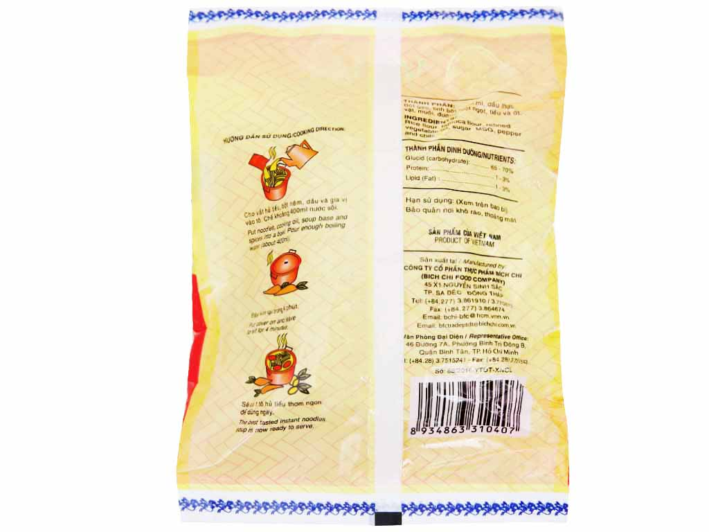Thùng 30 gói Hủ tiếu chay vina Bích Chi 60g 3