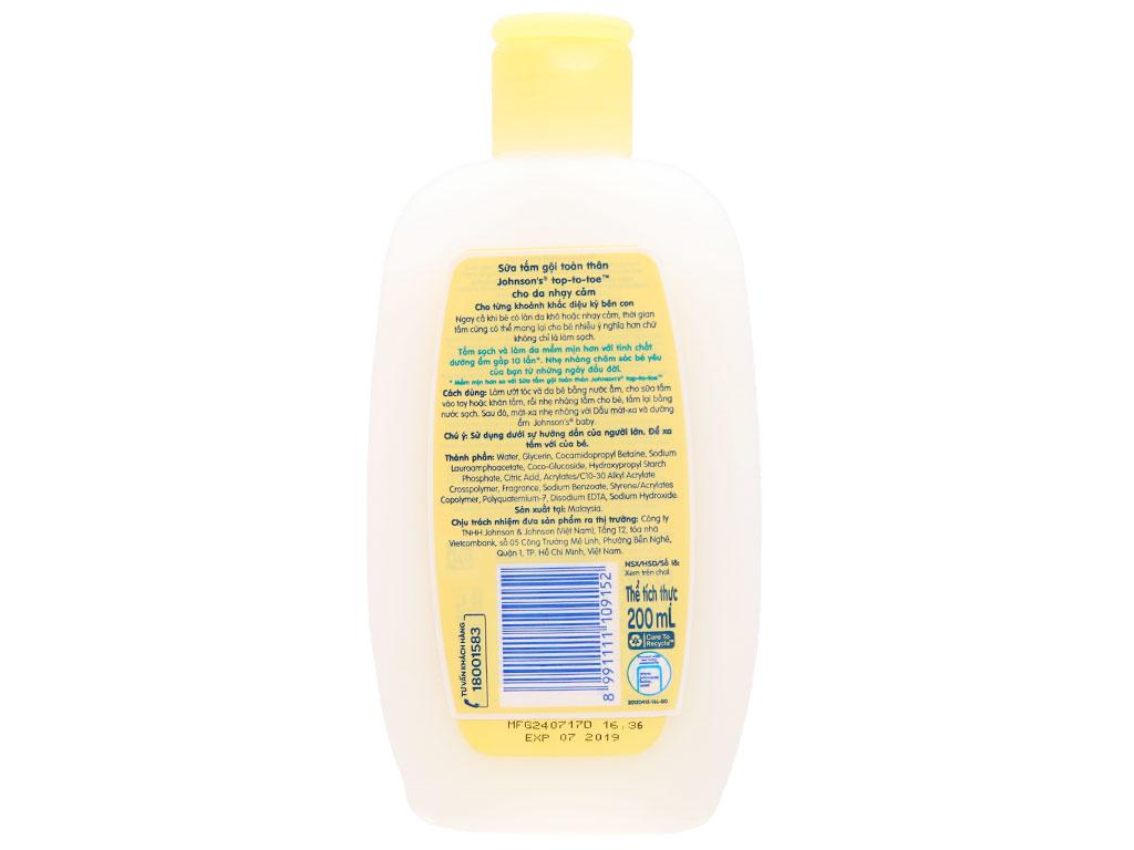 Tắm gội toàn thân cho bé Johnson's Baby cho da nhạy cảm 200ml (tặng kèm sữa dưỡng thể Johnson's 50ml) 2