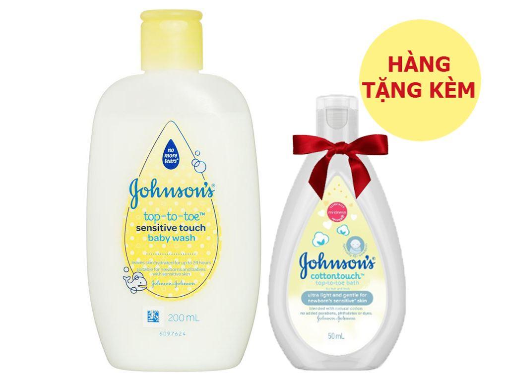 Tắm gội toàn thân cho bé Johnson's Baby cho da nhạy cảm 200ml (tặng kèm sữa dưỡng thể Johnson's 50ml) 1