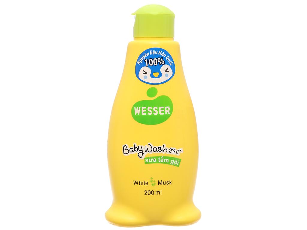 Dầu tắm gội cho bé Wesser White Musk 200ml 2