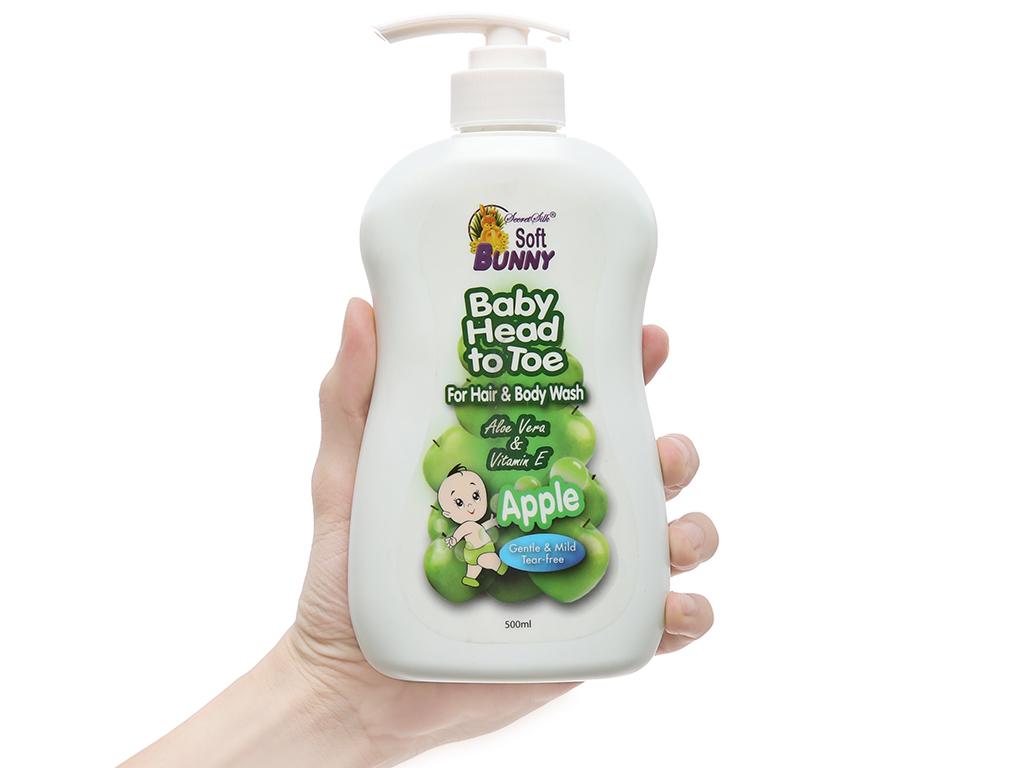 Tắm gội toàn thân cho bé Soft Bunny hương táo xanh 500ml 4