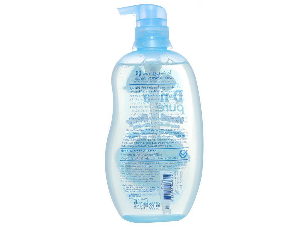 Tắm gội toàn thân cho bé D-nee Pure xanh 380ml 2