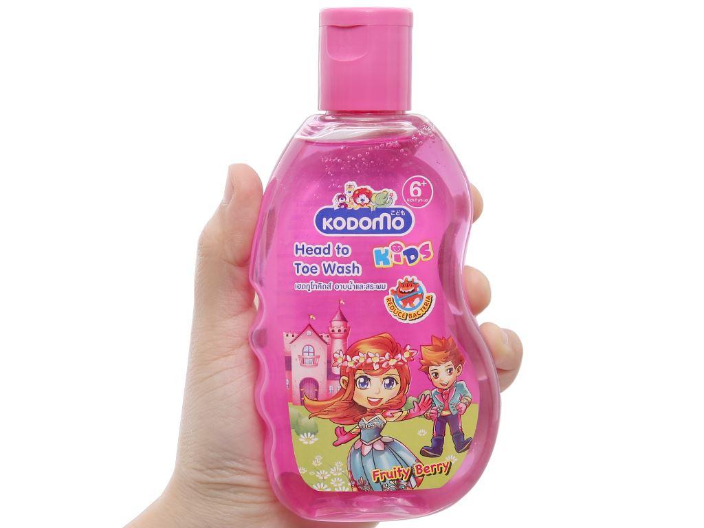 Tắm gội toàn thân cho bé Kodomo Fruity Berry 200ml 3