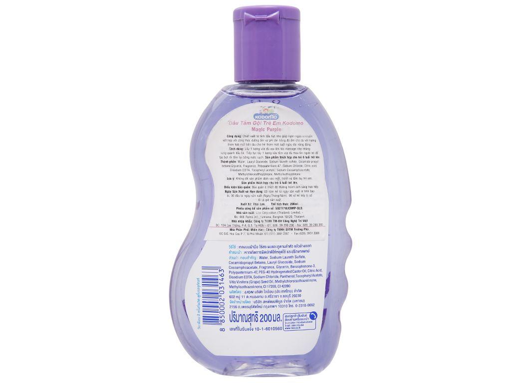 Tắm gội toàn thân cho bé Kodomo Magic Purple 200ml 2