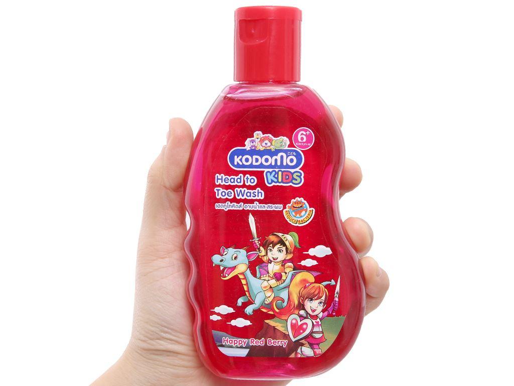 Tắm gội toàn thân cho bé Kodomo Happy Red Berry 200ml 3