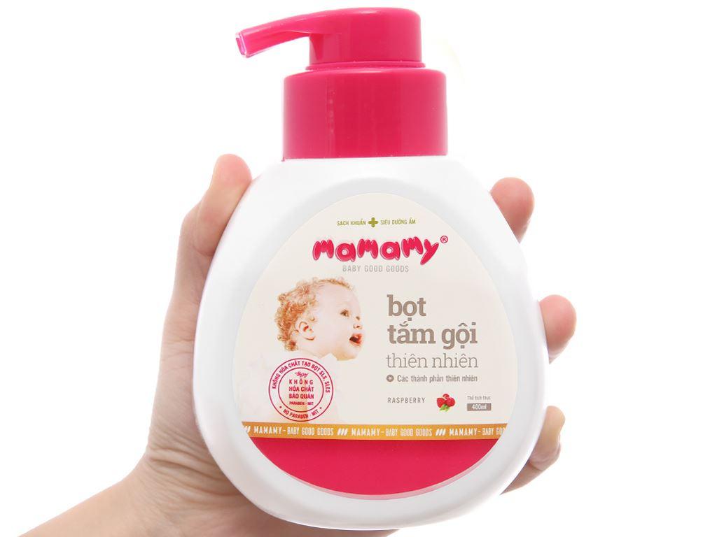 Bọt tắm gội thiên nhiên cho bé Mamamy Raspberry 400ml 3