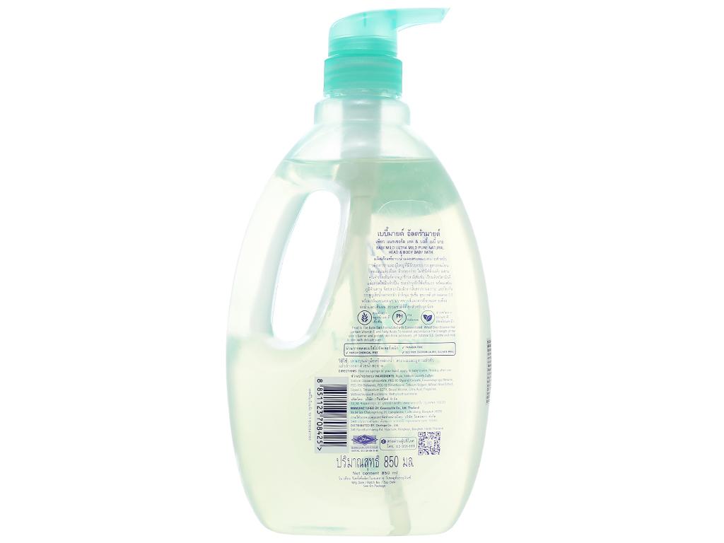 Tắm gội toàn thân cho bé Babi Mild Pure Natural 850ml 2