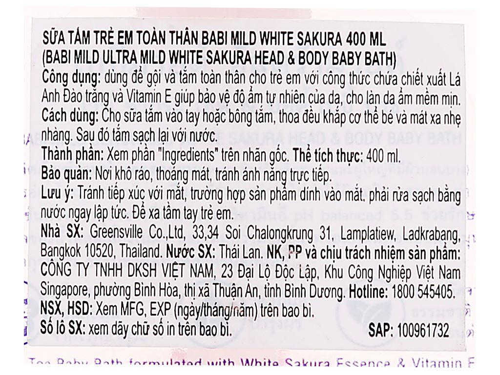 Tắm gội toàn thân cho bé Babi Mild White Sakura 400ml 4